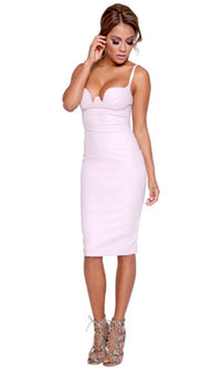 Invitation Only Light Purple Lavender PU Faux Leather Spaghetti Strap Bustier Bodycon Midi Dress - Inspired by Kim Kardashian - Sold Out