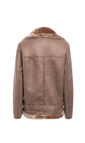 Warm Fuzzy Feelings PU Faux Leather Faux Fur Long Sleeve Asymmetric Zipper Motorcycle Coat Outerwear - 4 Colors Available