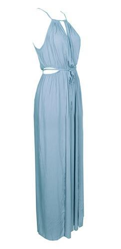 Light Blue Tie Neck Halter Cut Out Drawstring Waist Side Split Maxi Dress -  Sold Out