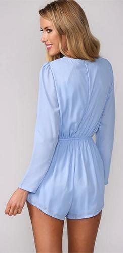 Light Blue Long Sleeve Puff Shoulder Scoop Neck Cut Out Plunge Elastic Waist Romper - Sold Out
