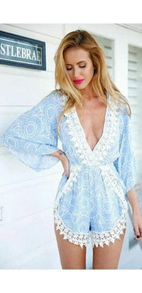 Clear Skies Light Blue White Geometric Floral Lace Trim 3/4 Sleeve V Neck Short Romper - Sold Out
