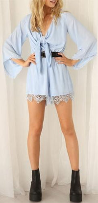 Through The Fog Light Blue 3/4 Bell Sleeve Tie V Neck Lace Trim Belted Romper - Sold Out