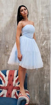 On Pointe Light Blue Strapless Bow Belt Pleated Tulle Ballerina Tutu Mini Dress - Sold Out