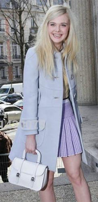 Light Blue Long Sleeve Button Front Single Breasted Satin Lining Coat - Inspired by Elle Fanning - Sold Out