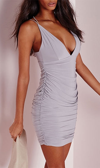 In The Club Light Grey Double Spaghetti Strap Plunge V Neck Ruched Bodycon Mini Dress - Sold out