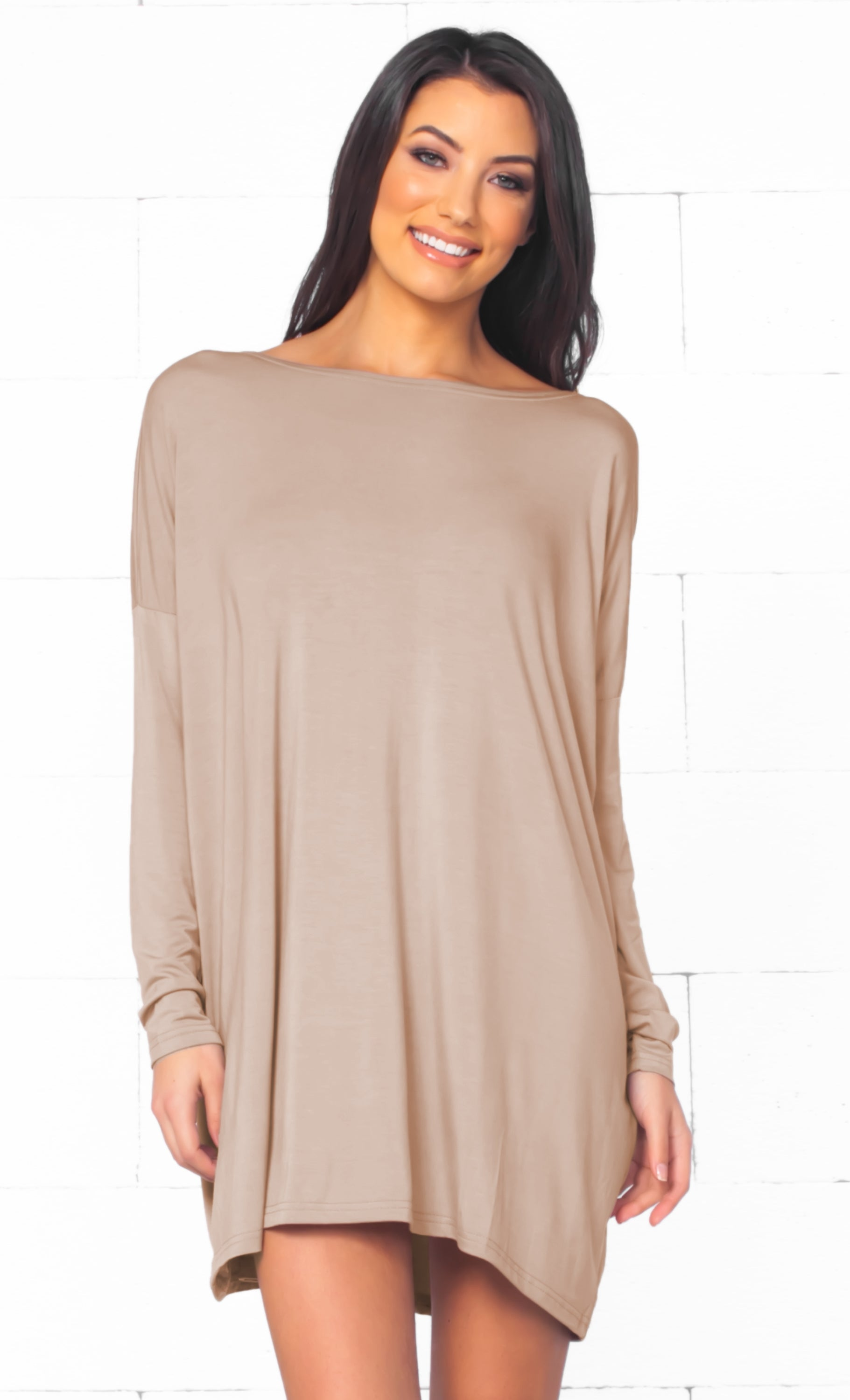 Piko 1988 Light Brown Long Sleeve Scoop Neck Piko Bamboo Oversized Basic Tunic Tee Shirt Mini Dress