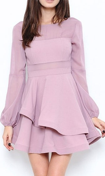 Family Pictures Lilac Purple Long Bishop Sleeve Sheer Panel Cut Out Skater Circle A Line Flare Mini Dress - Sold Out