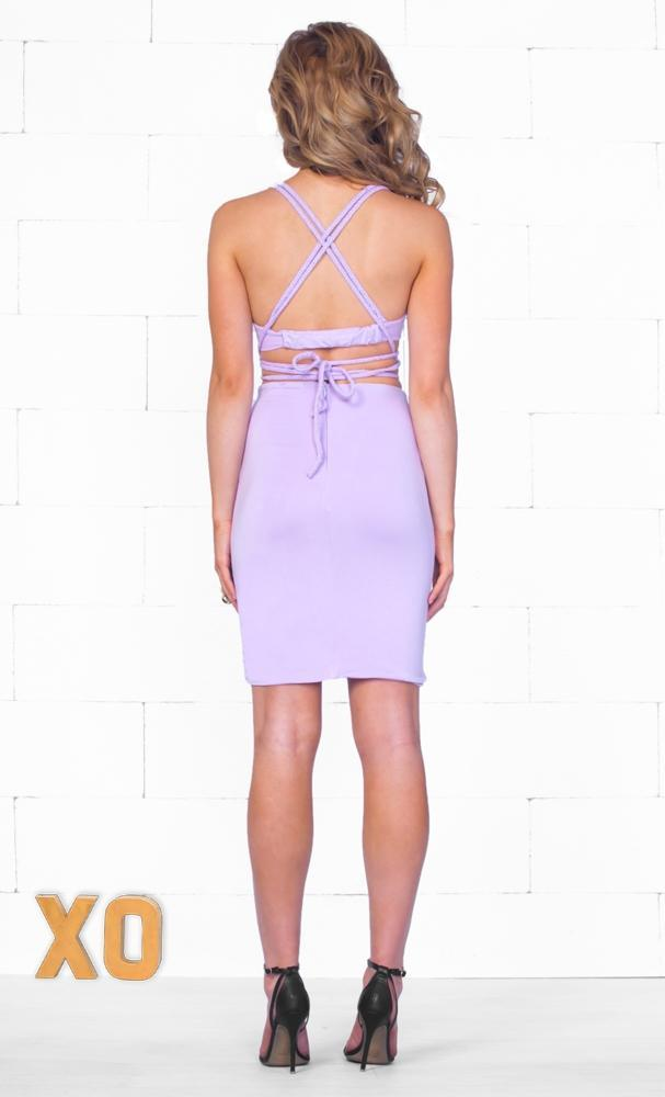 Indie XO Secret Lover Purple Lavender Braided Crisscross Spaghetti Strap Scoop Neck Crop Top Bodycon Two Piece Mini Dress - Just Ours! - Sold Out