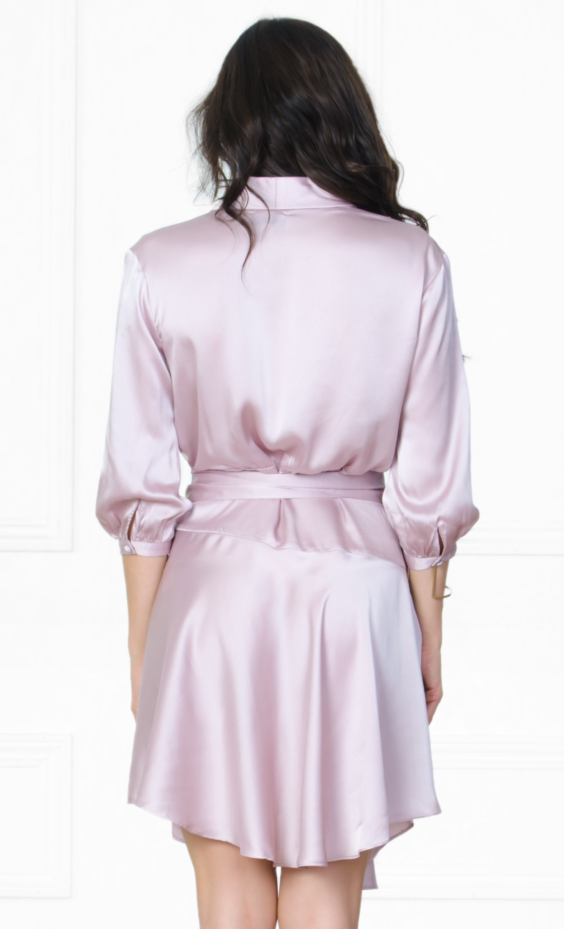 Indie XO First Date Light Purple Lavender 3/4 Sleeve Cross Wrap V Neck Ruffle Satin Mini Dress - Sold Out
