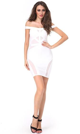 Good Karma Off The Shoulder Sheer Mesh Cut Out Bandage Bodycon Mini Dress - Inspired by Sarah Stage - 2 Colors Available