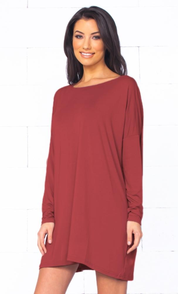 Piko 1988 Marsala Wine Red Burgundy Long Sleeve Scoop Neck Piko Bamboo Oversized Basic Tunic Tee Shirt Mini Dress