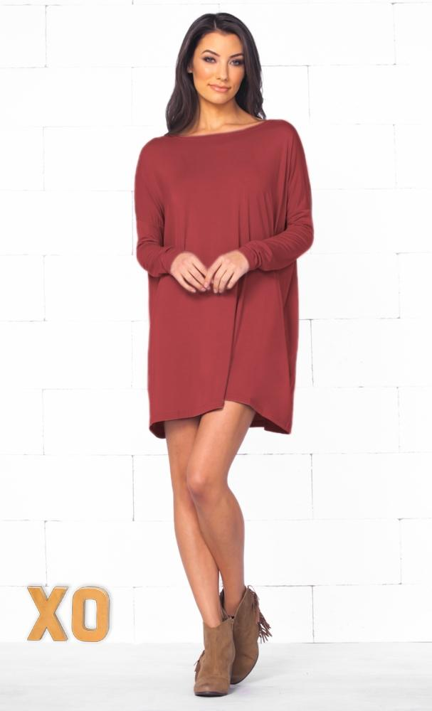 Piko 1988 Marsala Wine Red Long Sleeve Scoop Neck Piko Bamboo Oversized Basic Tunic Tee Shirt Mini Dress