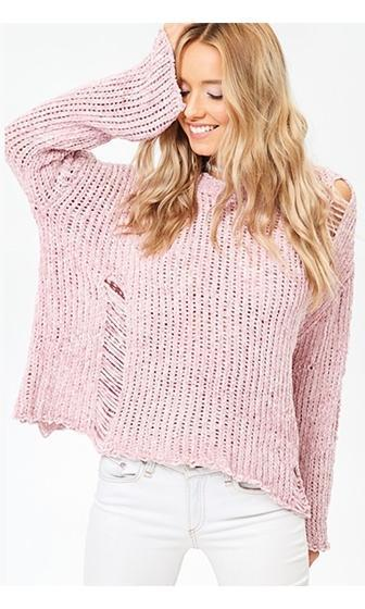 Teenage Dream Mauve Pink Long Bell Sleeve Tattered Scoop Neck Pullover Sweater (Pre-Order)