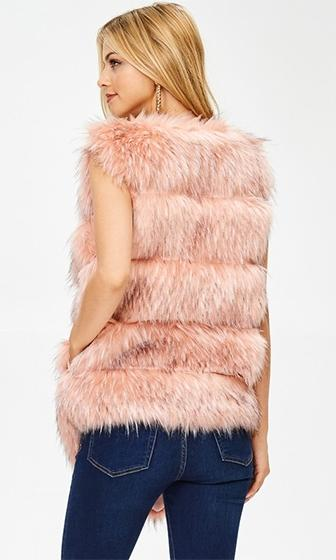 Fur The Love Mauve Faux Fur Sleeveless Open Front Vest (Pre-Order) - Sold Out