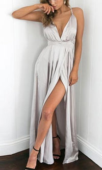 Ivory Tower Satin Spaghetti Strap V Neck Backless Double Slit Maxi Dress - Sold Out