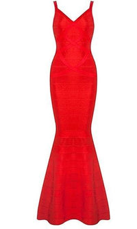 Last Affair Red Sleeveless V Neck Bodycon Bandage Mermaid Maxi Dress Gown -  Sold Out