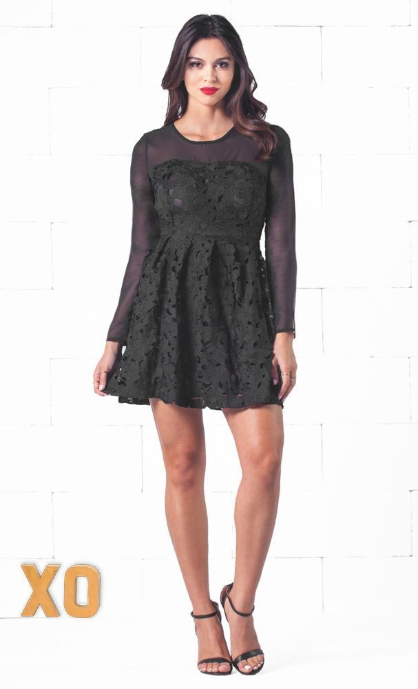 Indie XO Dance to the Music Black Scoop Neck Long Sleeve Lace Flower Embroidery A Line Mini Skater Dress - Just Ours! - Sold Out