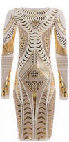 Gold Metallic Ivory Geometric Egyptian V Neck Long Sleeve Bodycon Mini Dress - Sold Out