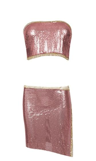 Haute Solstice Metal Chainmail Looped Tie Convertible Strapless Halter Tie Back Bandeau Crop Top Tie Side A Line Flare Two Piece Asymmetric Slit Mini Skirt Cover up Two Piece Dress - Rose Pink