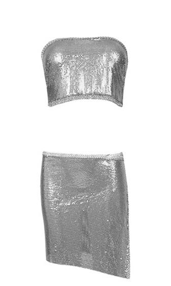 Haute Solstice Metal Chainmail Looped Tie Convertible Strapless Halter Tie Back Bandeau Crop Top Tie Side A Line Flare Two Piece Asymmetric Slit Mini Skirt Cover up Dress - Stargazer Silver