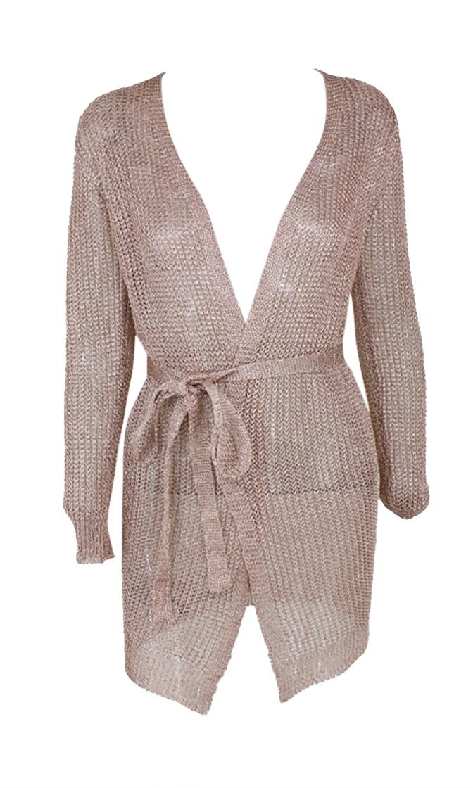Sultry Shine Rose Gold Metallic Knit Mesh Long Sleeve Cross Wrap Plunge V Neck Wrap Belt Sweater Cardigan Mini Dress - 3 Colors Available