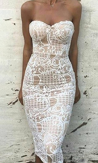 60dc9d87a23 Good Girl White Lace Strapless Sweetheart Neck Bodycon Midi Dress ...