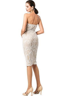 Good Girl White Lace Strapless Sweetheart Neck Bodycon Midi Dress - Sold Out
