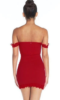 Sweet Fantasy Red Lace Trim Off The Shoulder Sweetheart Neck Bodycon Mini Dress - Sold Out