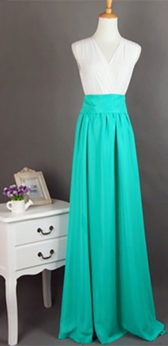 Mint Green Long Chiffon Split Front Tie Waist Bow Maxi Skirt - Sold Out