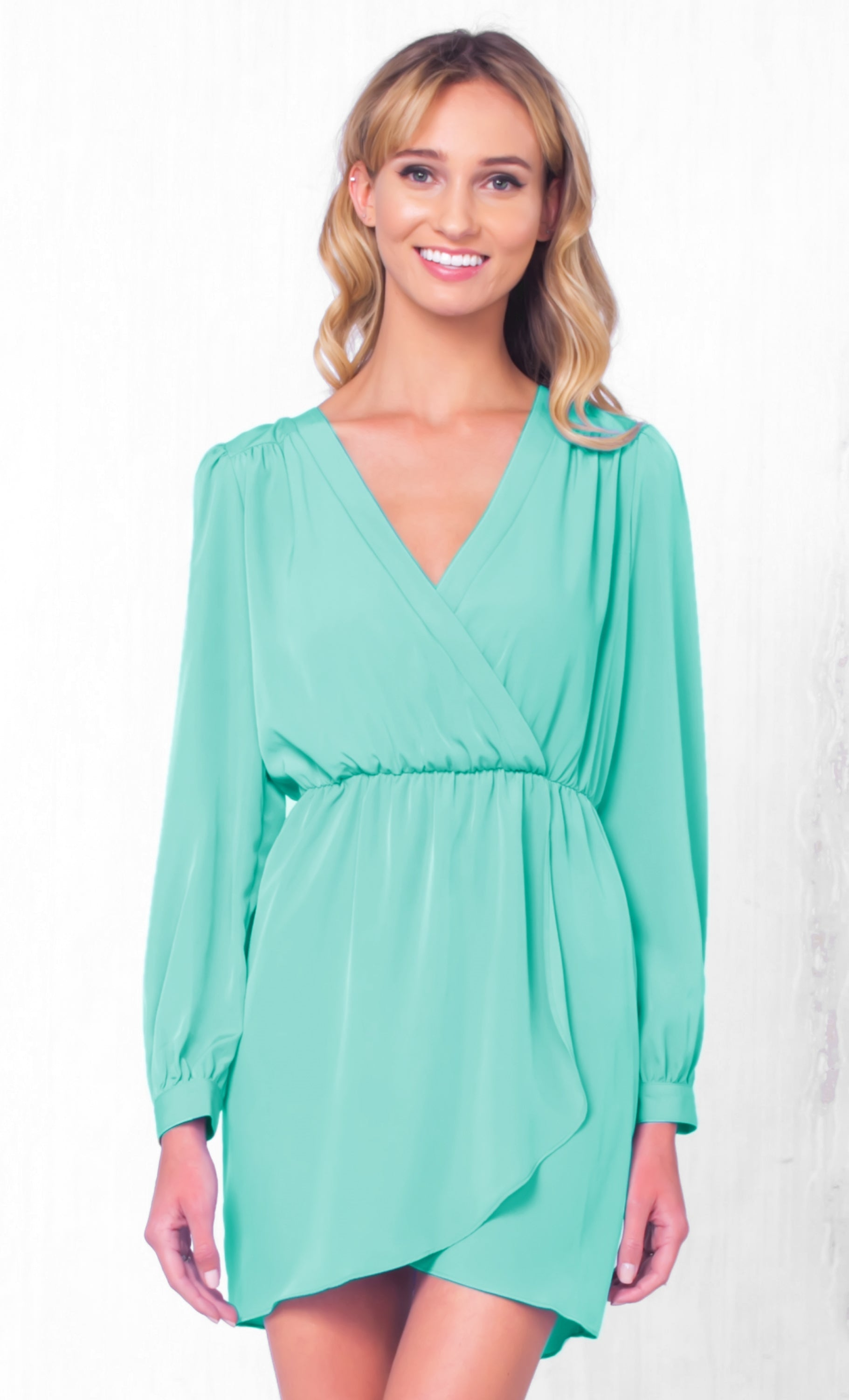 Indie XO That's A Wrap Mint Green Long Sleeve Cross Wrap V Neck Elastic Tulip Chiffon Mini Dress - Just Ours! - Sold Out