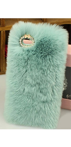 Mint Green Faux Fur Rhinestone Trim Phone Case Cover - Sold Out