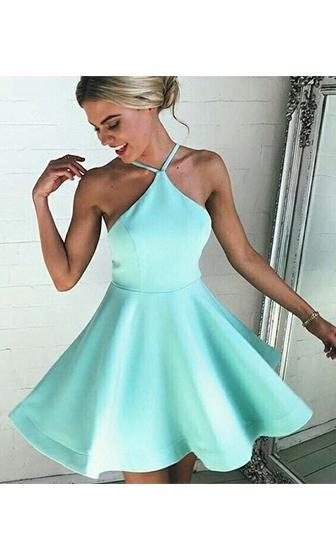 Float On Mint Green Spaghetti Strap Halter Skater Circle A Line Flare Skater Mini Dress - Sold Out