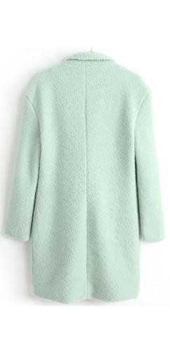 Mint Green Textured Wool Long Sleeve Single Breasted 3/4 Length Coat - Sold Out