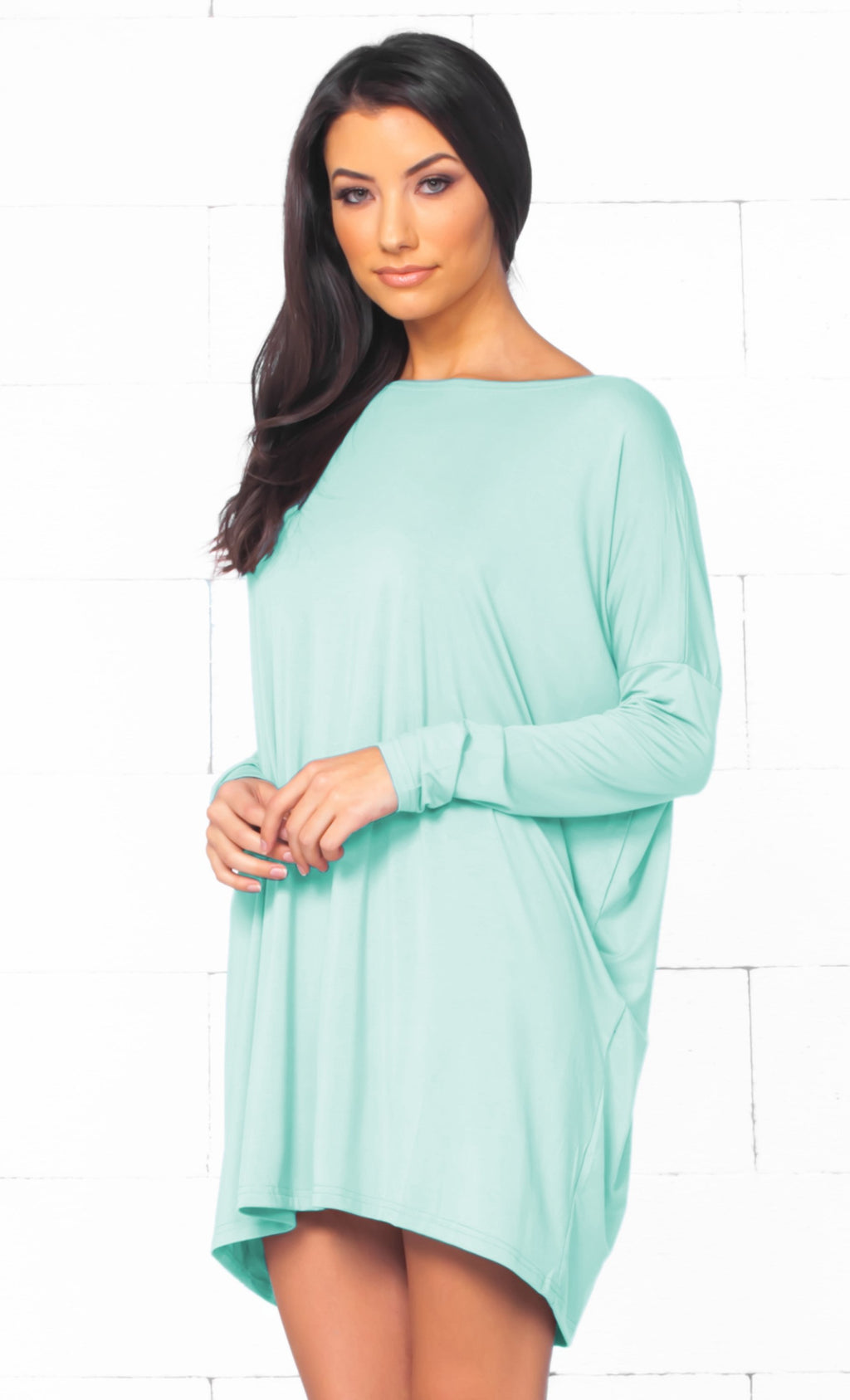 Piko 1988 Mint Green Long Sleeve Scoop Neck Piko Bamboo Oversized Basic Tunic Tee Shirt Mini Dress