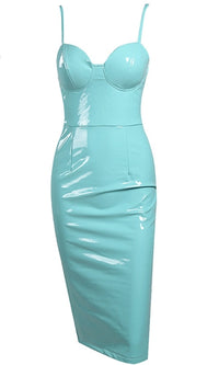 Super Slick Mint PU Faux Leather Spaghetti Strap Bustier Bodycon Midi Dress - Sold Out