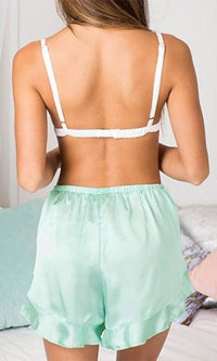 Come Away With Me Mint Green Chiffon Elastic Tie Waist Ruffle Tulip Lingerie Shorts - Sold out