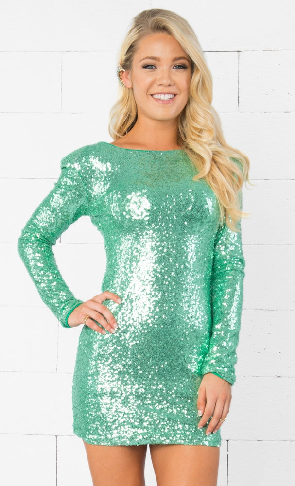 Indie XO Dance All Night Mint Green Metallic Sequin Sparkle Scoop Neck Low Back Long Sleeve Bodycon Mini Dress - Just Ours! - Sold Out