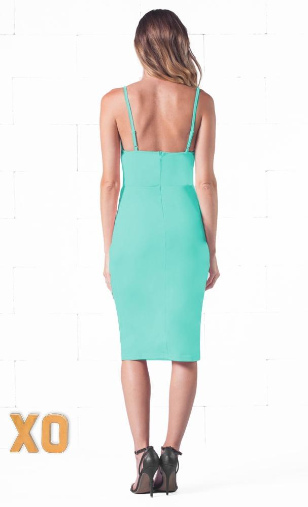 Indie XO Seductive Tease Mint Green Spaghetti Strap V Neck Cut Out Waist Zip Back Bodycon Midi Dress - Just Ours! - SOLD OUT