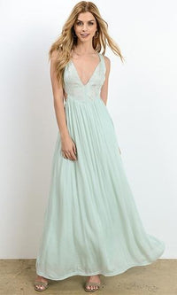 Seaside Breeze Mint Green Floral Embroidery Sleeveless Tie Back Plunge V Neck Maxi Dress - Sold Out