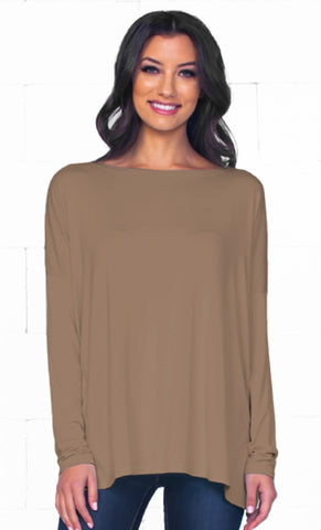 Piko 1988 Burgundy Wine Long Dolman Sleeve V Neck Piko Bamboo Basic Loose Tunic Tee Top - Back in Stock!