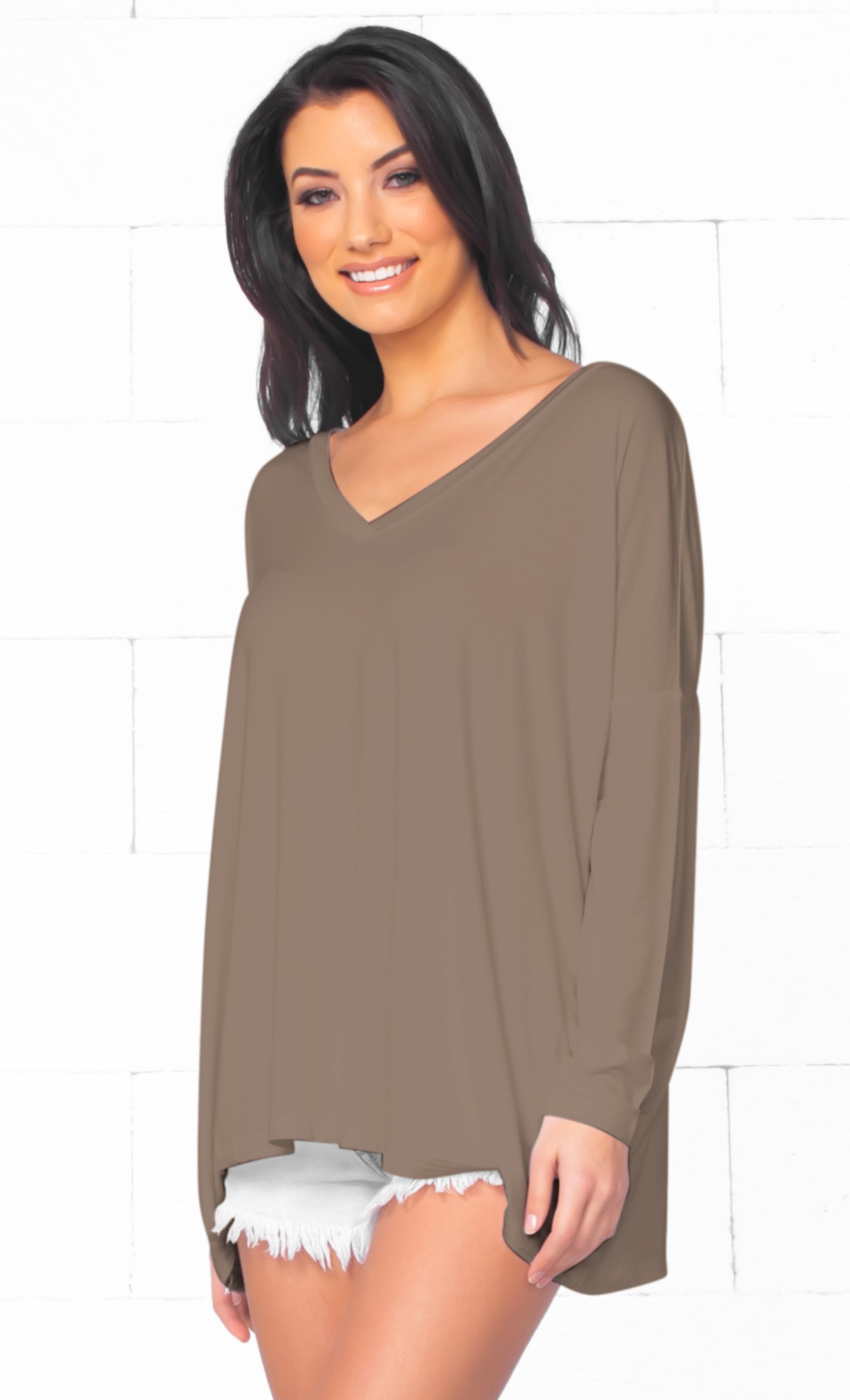 Piko 1988 Bamboo Mocha Taupe Medium Brown Long Dolman Sleeve V Neck Piko Bamboo Basic Loose Tunic Tee Top