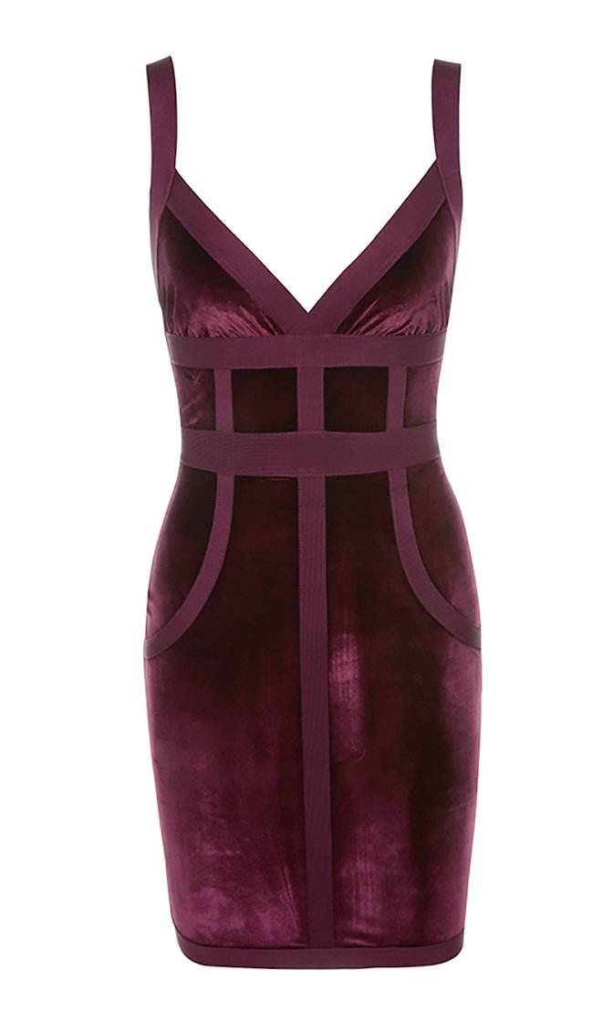 Goddess Complex Mulberry Velvet Sleeveless V Neck Bodycon Bandage Mini Dress