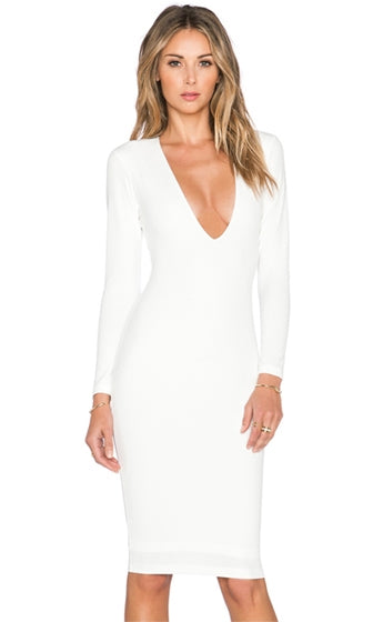 Change The Game White Long Sleeve Deep V Neck Bodycon Midi Dress