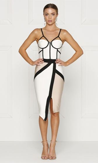 Luscious Desire White Beige Black Colorblock Sleeveless Spaghetti Strap Bustier Bandage Bodycon Midi Dress
