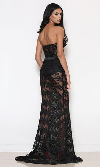 Real Deal Black Sheer Mesh Lace Strapless Maxi Dress