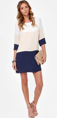 White Beige Navy Blue 3/4 Sleeve Scoop Neck Color Block Chiffon Loose Mini Dress - Sold Out