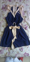 Navy Blue Beige Sleeveless V Neck Cut Out Tie Waist Short Romper - Sold Out