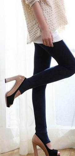 Navy Blue Fleece Lined Control Top Opaque Toeless Compression Stretch Leggings Pants - Sold Out