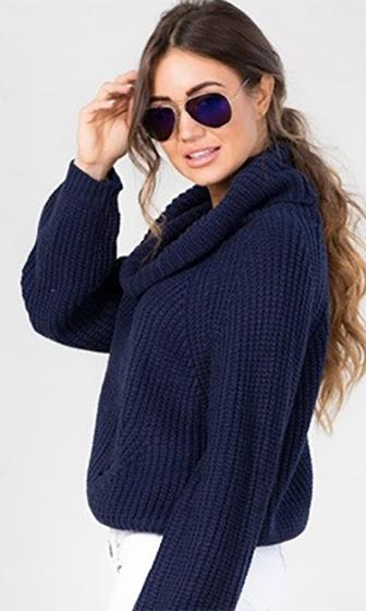 Fireside Lounge Navy Blue Cowl Neck Long Sleeve Crop Pullover Sweater