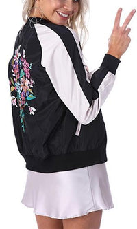 Tough Cookie Navy Blue White Floral Embroidery Long Sleeve Satin Bomber Baseball Jacket - Sold out